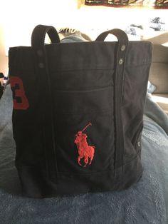 Polo RALPH LAUREN Large Canvas Tote Shopper Bag Icon Polo Pony  fashion   clothing   a70efb899378