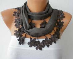 Gray Scarf  Cotton Scarf Headband Necklace Cowl with by fatwoman, $15.00