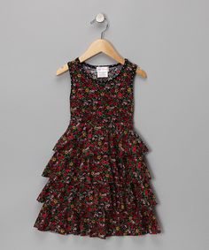 Black & Red Floral Tiered Dress - Girls