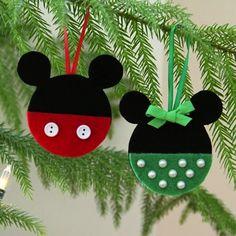 Adornos de navidad de Mickey y Minnie para hacer con niños                                                                                                                                                                                 Más