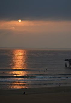 Muggy, hazy morning at the beach.  But it was a beautiful sunrise!