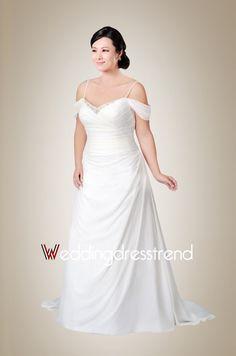 Fashionable A-line Spaghetti Straps Chiffon White Wedding Dress