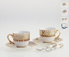 Benjarong cups with spoon - Floral pattern on white  Add style and sophistication to your drinking habits with this finely crafted porcelain cup, saucer and spoon with ceramic handle. Made by the technique of craftsmanship originally exclusive for the Thai royal court, with multiple layers of exquisitely handpainted Thai arts and relief glaze to emphasize its floral pattern against the beautiful 18k gold accent. Benjarong cup is the piece of true class that makes an impression at first…