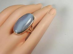 Blue lace agate ring size 8 92.5 sterling silver view link