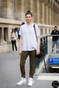 Katlin Aas, fashion model, after Y-3 fashion show. Shop this look (or similar) here: T-shirt: T by Alexander Wang Classic T Shirt with Pocket Pants: Superdry Skinny Camo Cargo Trousers Trainers: Nike Air Force 1 Mid '07 Trainers Bag: Alexander Wang Jane Bag STYLE DU MONDE on Instagram @styledumonde,