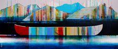 Paysage grandiose, mixed media canoe painting by Sylvain Leblanc   Effusion Art Gallery + Cast Glass Studio, Invermere BC