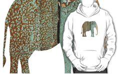 Weathered - Peeling Paint Hoodie/t-shirt - JUSTART on Redbubble  #justart #rb #redbubble #hoodie #tshirt #elephant #shape #green #blue #aqua #brown #beige #design #animal #shape