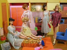 """Slumber Party Barbie, 1965. Barbie reads """"How to lose weight"""" to the girls. The main tip is don't eat."""