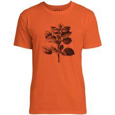 Mintage Wild Nettle Illustration Mens Fine Jersey T-Shirt (Orange)