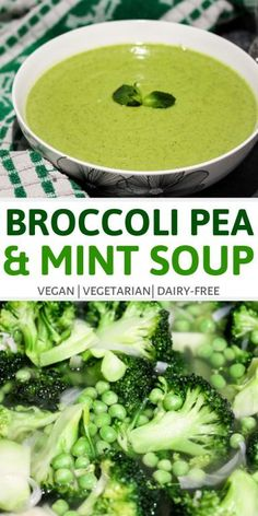 Broccoli Pea and Mint Soup The combination of broccoli peas and mint create the perfect blend of flavors. This soup also has a rich and creamy texture making it very filling. Source by simshomekitchen Mint Recipes, Pea Recipes, Soup Recipes, Recipies, Delicious Vegan Recipes, Real Food Recipes, Healthy Recipes, Easy Vegetarian Dinner, Vegan Vegetarian