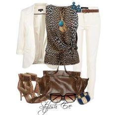 White blazer with leopard blouse