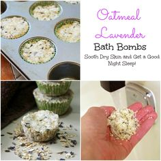 These Lavender Oatmeal bath bombs are a great way to soothe dry skin and get a good night sleep.  A simple DIY beauty recipe that takes only minutes to make and smells heavenly!