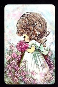 Vintage JOY Swap Card - Cute Girl with Flowers (BLANK BACK)