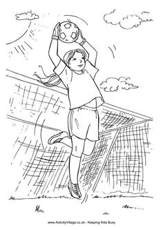 Goalkeeper girl colouring page