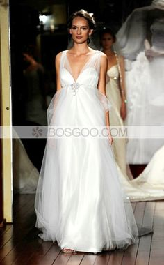 A-line V-neck Chapel Train Satin Tulle Beading Ruffled Wedding Dress