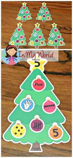 FREE Christmas Preschool Centers Christmas Tree number sorting