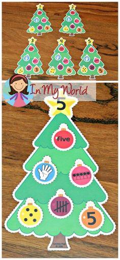 FREE Christmas Preschool Centers Christmas Tree number sorting