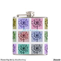 Flower Pop Art Personalized Hip Flask