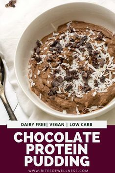 Simple Chocolate Protein Pudding is a simple healthy recipe that is the perfect afternoon or post workout snack This easy recipe is made with vegan protein powder and is. High Protein Desserts, Healthy Protein Snacks, Easy Healthy Recipes, Healthy Desserts, Snack Recipes, Vegan Recipes, Vegan Foods, Healthy Options, Healthy Food