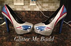 New England Patriots inspired glitter High heel made by Glitter Me Badd. #patriots #newengland