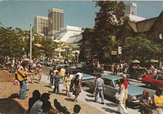 """Yorkville neighbourhood in Toronto when it still had some element of """"cool"""" to it. Circa 1974."""