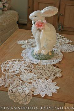 Doily table runner, vintage style Easter rabbit