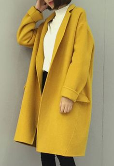 Fashionable Loose-Fitting Worsted Lapel Neck Coat For Women