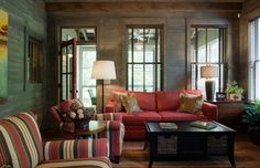 Carolina Jessamine Cottage - Rustic - Family Room - Our Town Plans
