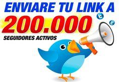 enviare tu link a 200.000 mil usuarios activos en mi twitter para que aumentes tu trafico y ganancias en tiempo real, para producto o ofertas CPA Twitter, Fans, Fandom