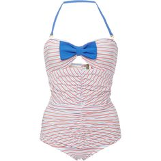 ETE Swim Mimi Striped Ruched-Front Swimsuit featuring polyvore, fashion, clothing, swimwear, one-piece swimsuits, swimsuits, bikini, bathing suits, swim, blue red stripe, retro bikini, retro swimsuit, swim suits, retro halter swimsuit and bikini swimsuit