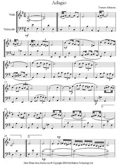 Albinoni -  Adagio (1) sheet music for Violin-Cello Duet
