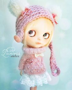 MARSHMALLOW Ooak Mohair SET For BLYTHE By Odd Princess Atelier, Pink, Hand Knitted Outfit