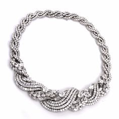 Impressive Antique 86.00ct Diamond 18k Gold Necklace Circa 1930's - Dover Jewelry