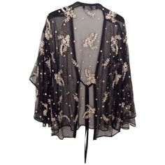 Pre-owned kimono ($145) ❤ liked on Polyvore featuring outerwear, black, shawl cape, cape coat, embroidered shawl, embroidered kimono and kimono shawl