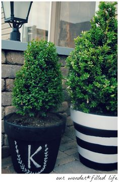Our black and white planters...chalkboard and striped, loving them!