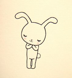 Cute Bunny Rabbit Illustration Card Ivory White Soft Pink Unique Handmade $4.99, via Etsy.