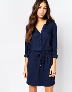 Pimkie Tie Waist Shirt Dress with Long Sleeve