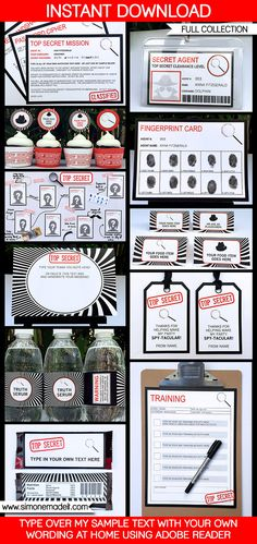 Spy Party Printables, Invitations & Decorations | Secret Agent Theme | Birthday Party | Secret Codes & Ciphers | Editable templates | INSTANT DOWNLOAD $12.50 via SIMONEmadeit.com