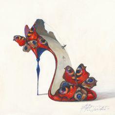 Inna Panasenko - Kunstdruck / Art Poster - Sketches of Love V Sketches Of Love, Dress Design Sketches, Fashion Sketches, Shoe Sketches, Art And Illustration, Illustrations, Flower Shoes, Butterfly Shoes, Butterfly Dress