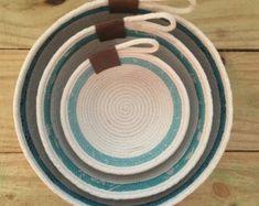 Catch-All Baskets - 3 Piece Nesting Bowl Set - Teal