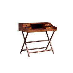 Alexi KD Desk with leather top in Rustic Brown - NPD