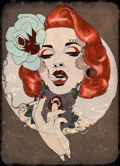 Smoking Hot by Amy Dowell Tattooed Marilyn Monroe w Cigarette Canvas Art Print