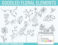 Clip Art Set of Doodled Foliage and Flowers from SonyaDeHartDesign onTeachersNotebook.com  idea only. not free