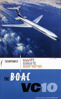 Vintage Airline Poster from Onslows - BOAC Flights On The VC10 Poster.