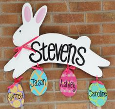 """http://ashleynicholedesigns.com/bunny-eggs.html ~ Bunny & Eggs ~ Look at this bunny go!! Grab yours today and personalize with your family names. This wooden door decor or home decoration would be a great Easter item to have in your collection!! (ONLY up to 5 eggs per bunny) Width 25"""", Height 25"""""""