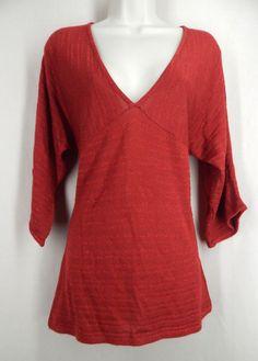 NEW YORK & COMPANY Size M Red Metallic Stripe V Neck Dolman Sleeve Sweater #NewYorkCompnay #VNeck
