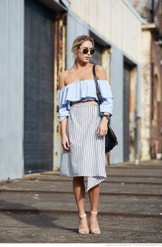 frilled off-shoulder blouse and striped skirt with ankle strap sandals