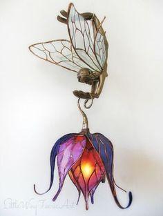 Little Wing Faerie Art Lamp . Little Wing Faerie Art Lamp Beautiful Interiors, Beautiful Homes, House Beautiful, Art Nouveau, Fairy Lamp, Ribbon Art, Art Furniture, Plywood Furniture, Chandeliers