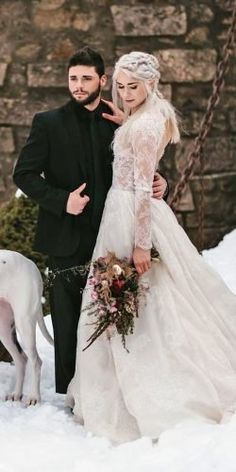 Modest Wedding Dresses High Neck 24 Winter Wedding Dresses & Outfits winter wedding dresses outfits a line with long sleeves lace codyjamesbarry Casual Country Wedding, Country Wedding Dresses, Princess Wedding Dresses, Modest Wedding Dresses, Colored Wedding Dresses, Cheap Wedding Dress, Long Dresses, Wedding Colors, Winter Dress Outfits