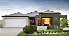Explore our range of award winning home designs here. Choose your dream home design now with Dale Alcock. Available in Perth or the South-West. Modern Exterior, Interior Exterior, Exterior Design, Front House Landscaping, Modern Landscaping, Style At Home, Front Courtyard, Front Yard Design, House Elevation